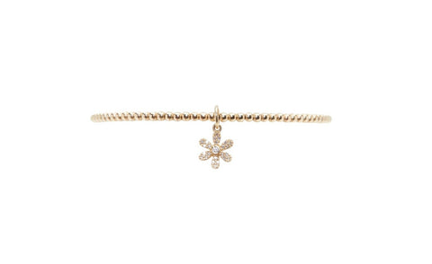 2mm Yellow Gold Bracelet with 14k Diamond Flower Charm