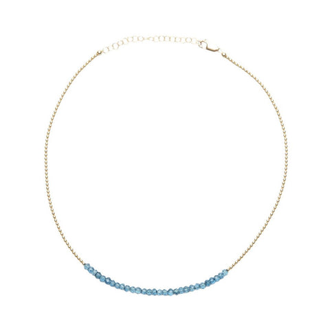 2mm Yellow Gold Filled Necklace with London Blue Topaz