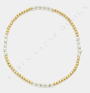 Kids 2MM Yellow Gold Filled Bracelet with 3MM Sterling Silver