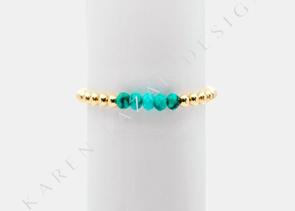 2MM Yellow Gold Filled Ring with Mixed Turquoise