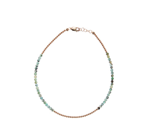2MM Yellow Gold Filled Anklet with African Turquoise