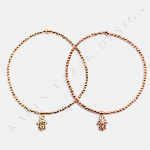 2MM Yellow Gold Filled Bracelet with 14k Gold Pave Diamond Hamsa Charm