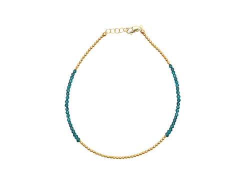 2MM Yellow Gold Filled Anklet with London Blue Topaz