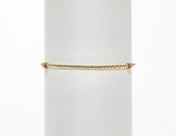 2MM Yellow Gold Filled Bracelet with Large 14K Rondelle Pattern