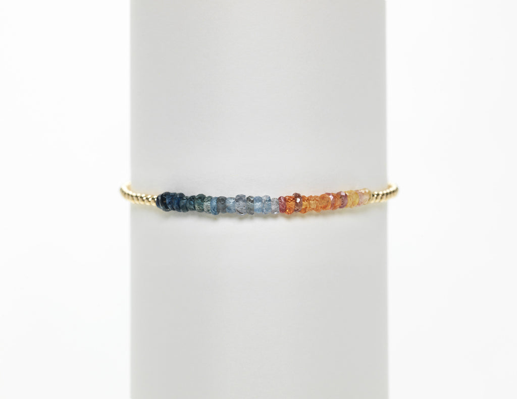 2mm Yellow Gold Filled Bracelet with Beach Blue Sapphire Ombre