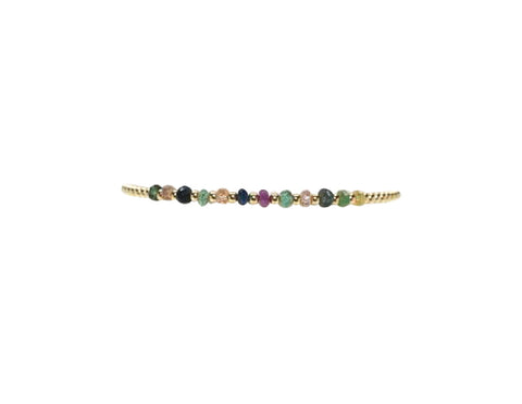 2MM Yellow Gold Filled Bracelet with Multi Color Sapphire