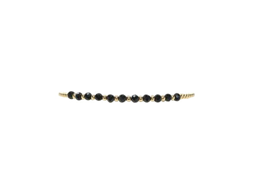 2MM Yellow Gold Filled Bracelet with Black Spinel Gold Pattern