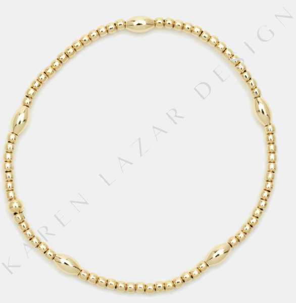 2MM Yellow Gold Filled Bracelet with Orzo Pattern