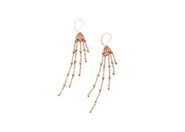2MM Rose Gold Filled Beaded Ball And Chain Earrings