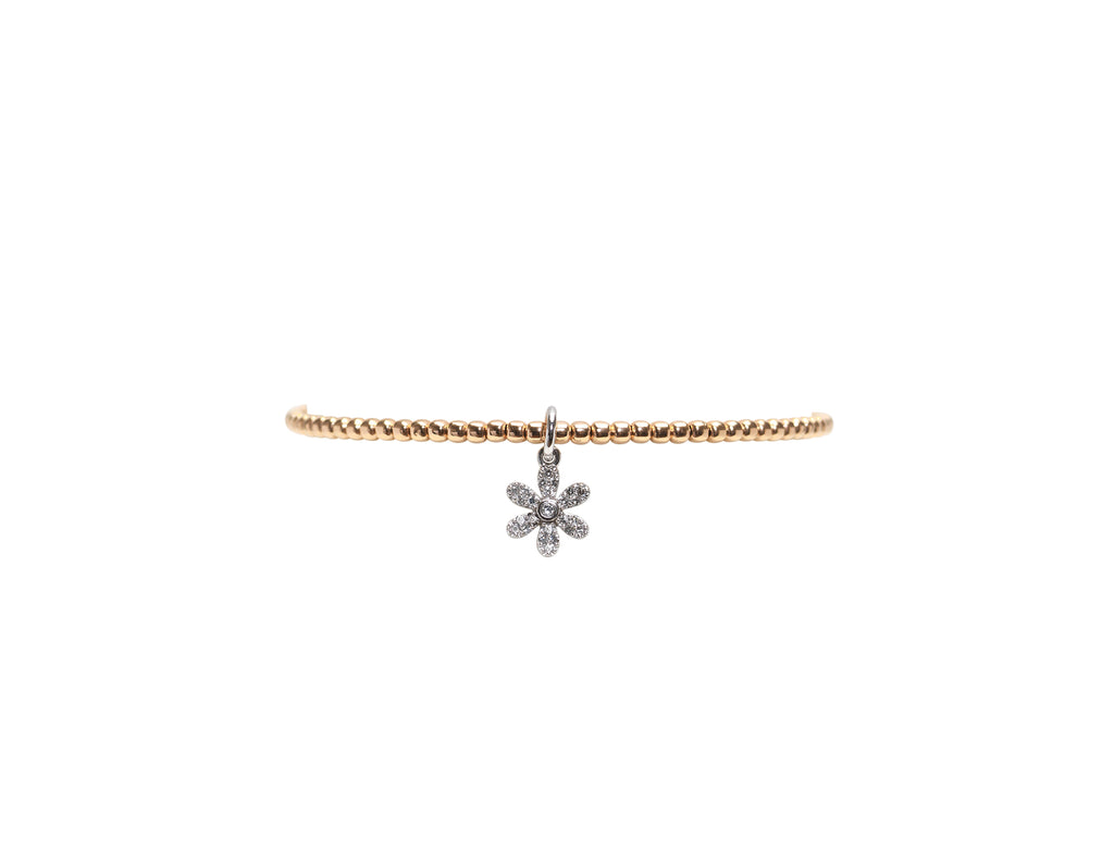 2MM Rose Gold Filled Bracelet with 14K White Gold Diamond Flower Charm