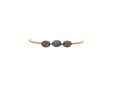 2MM Yellow Gold Filled Bracelet with 3 Sterling Silver Oxidized Diamond Beans