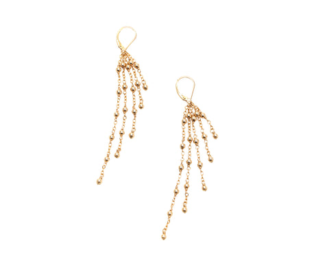 2MM Yellow Gold Filled Beaded Ball And Chain Earrings