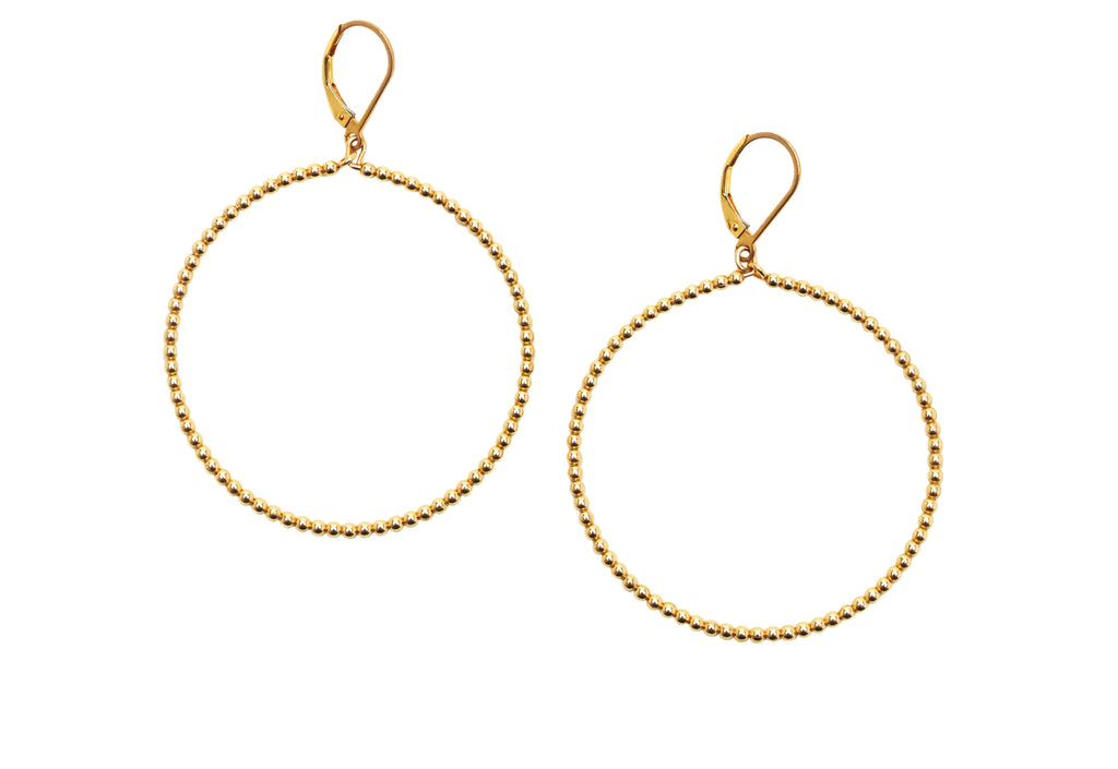 2MM Yellow Gold Filled Beaded Hoop Earrings