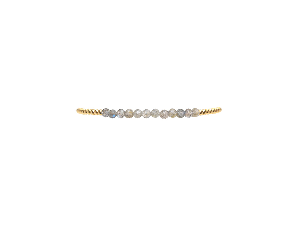 Kids 2MM Yellow Gold Filled Bracelet with Labradorite