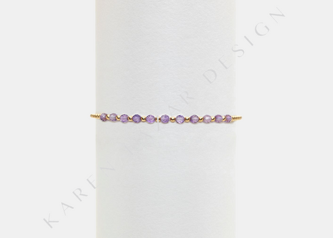 Kids 2MM Yellow Gold Filled Bracelet with Amethyst Gold Pattern
