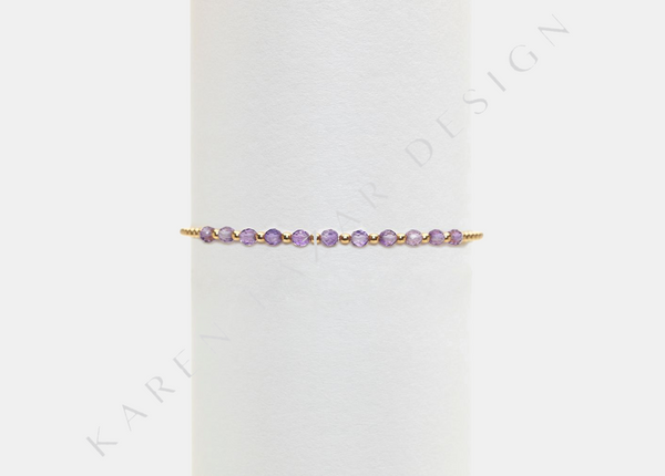2MM Kids Yellow Gold Filled Bracelet with Lavender Amethyst Gold Pattern