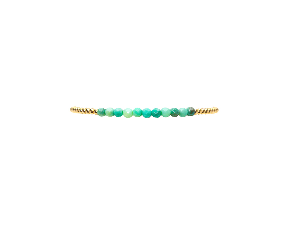 2MM Yellow Gold Filled Bracelet with Mixed Green Opal
