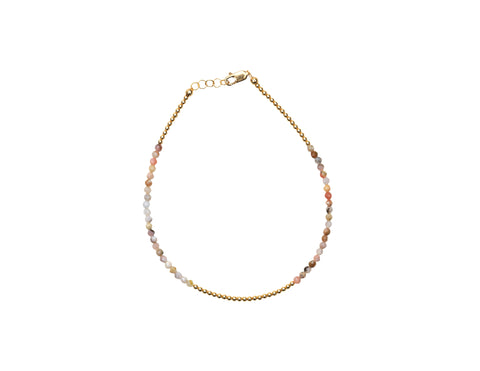 2MM Yellow Gold Filled Anklet with Mixed Natural Opal