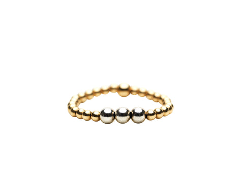 2MM Yellow Gold Filled Ring with 3MM Sterling Silver Mix Ring