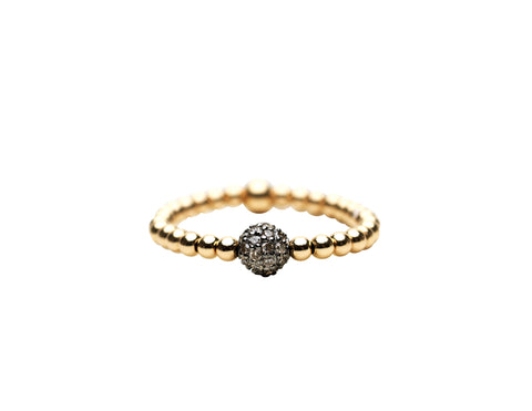 2mm Yellow Gold Filled Ring with Sterling Silver Oxidized Diamond Bead