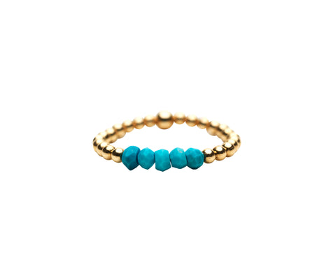 2MM Yellow Gold Filled Ring with Turquoise