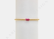 Kids 2MM Yellow Gold Filled Bracelet with Ruby Pattern