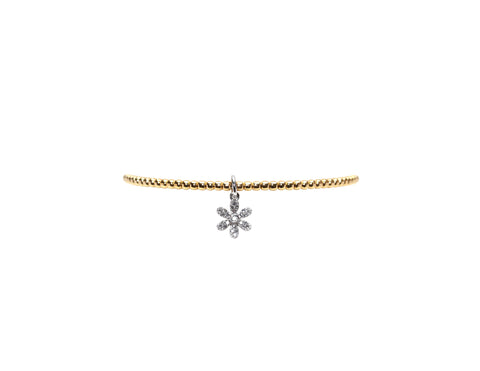 2MM Yellow Gold Filled Bracelet with 14K White Gold Diamond Flower Charm