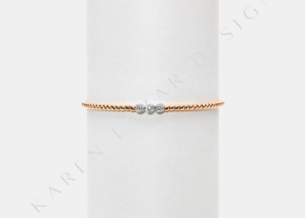 2MM Rose Gold Filled Bracelet with 3 14K White Gold Diamond Beads