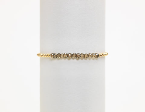 2MM Yellow Gold Filled Bracelet with Smokey Topaz