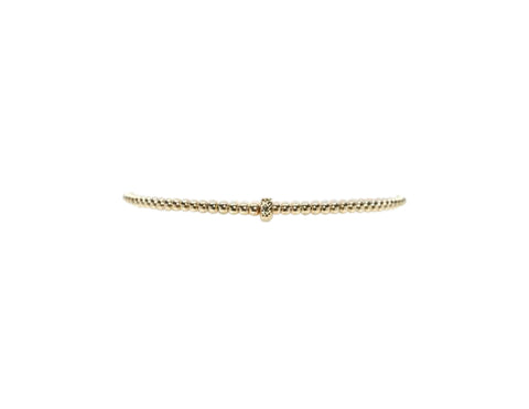 2MM Yellow Gold Filled Bracelet with Large 14K Gold Rondelle Pattern