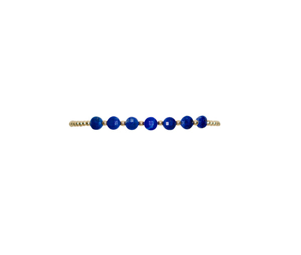2mm Yellow Gold Filled Bracelet with Lapis Disc Gold Pattern
