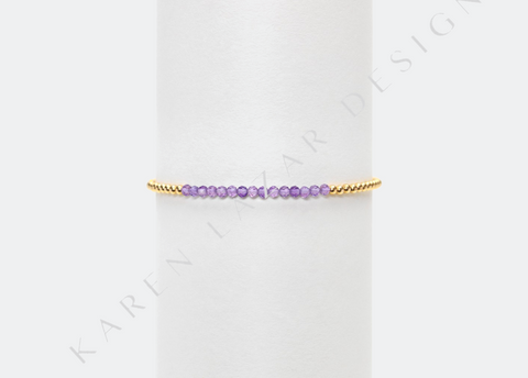 Kids 2MM Yellow Gold Filled Bracelet with Baby Amethyst