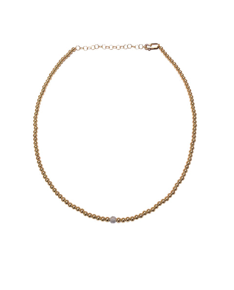 3MM Rose Gold Filled Necklace with 14K Diamond Bead