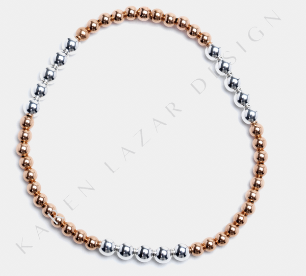 3MM Rose Gold Filled Bracelet with 4MM Sterling Silver