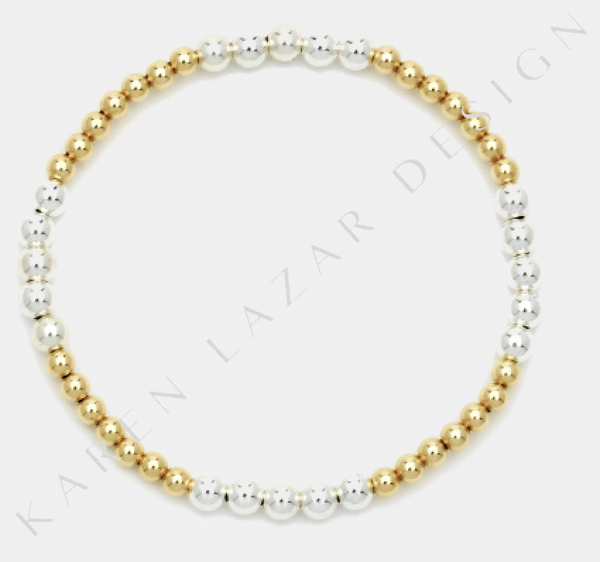 3MM Yellow Gold Filled Bracelet with 4MM Sterling Silver