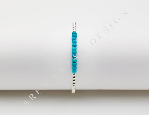 3MM Sterling Silver Filled Bracelet with Turquoise