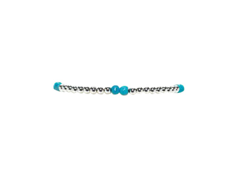 3MM Sterling Silver Bracelet with Turquoise Pattern