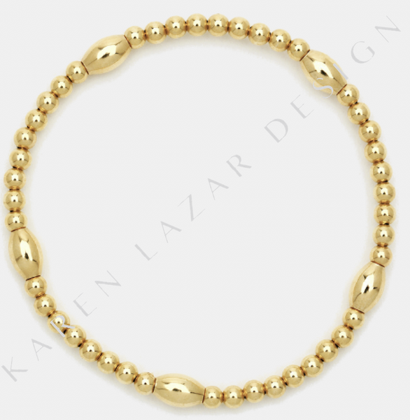 3MM Yellow Gold Filled Bracelet with Orzo Pattern