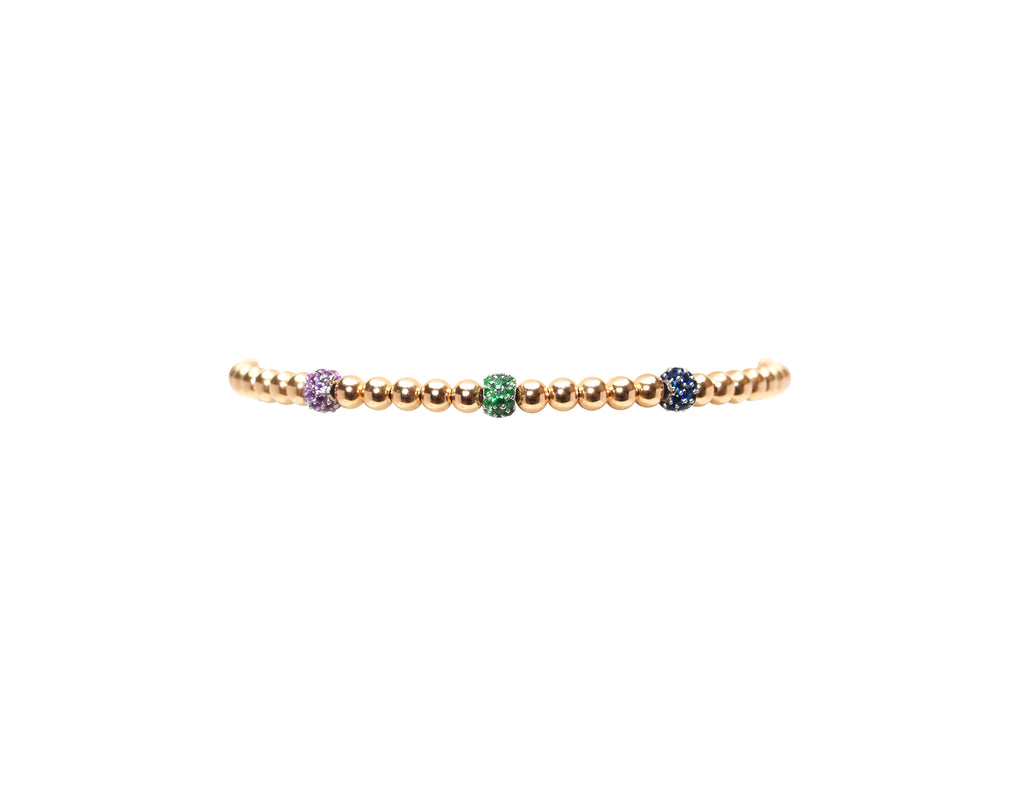 3MM Yellow Gold Filled Bracelet with 14K Pink, Blue And Green Sapphire