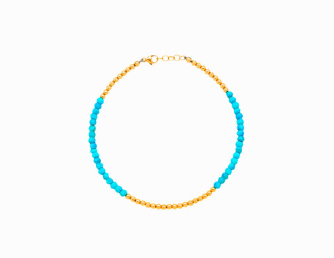 3MM Rose Gold Filled Anklet with Classic Turquoise