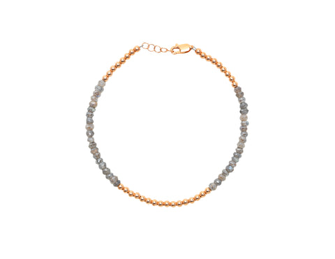 3MM Rose Gold Filled Anklet with Labradorite