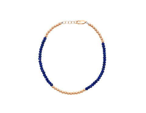 3MM Rose Gold Filled Anklet with Lapis
