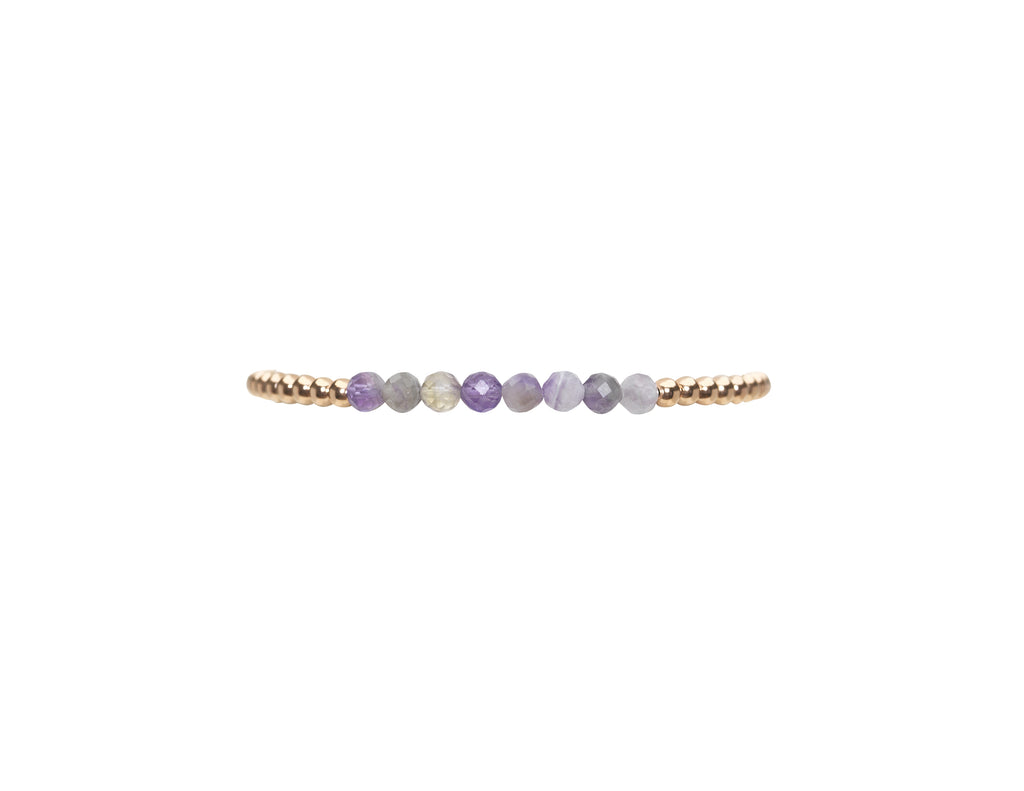 3MM Rose Gold Filled Bracelet with Mixed Amethyst