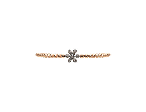 3MM Rose Gold Filled Bracelet with Sterling Silver Oxidized Diamond Flower Bead
