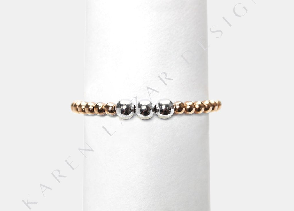 2MM Yellow Gold Filled Ring/ W 3MM Sterling Silver Mix