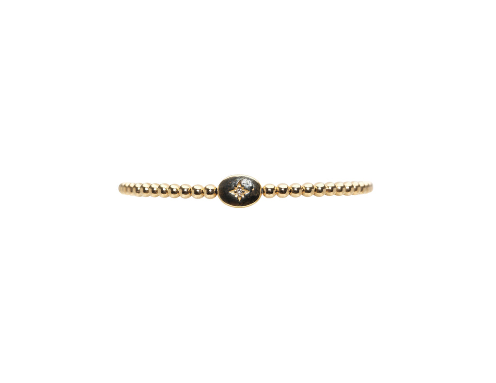 3MM Yellow Gold Filled Bracelet with 14K Single Diamond Bean