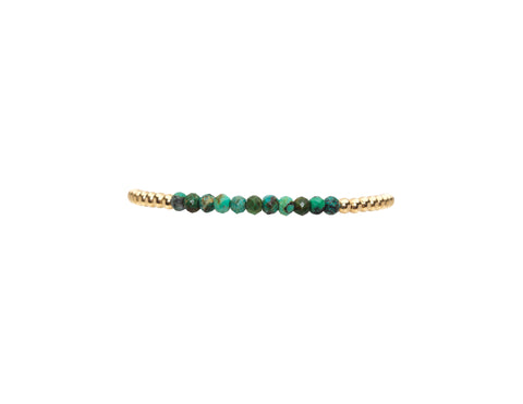 3MM Yellow Gold Filled Bracelet with Arizona Turquoise