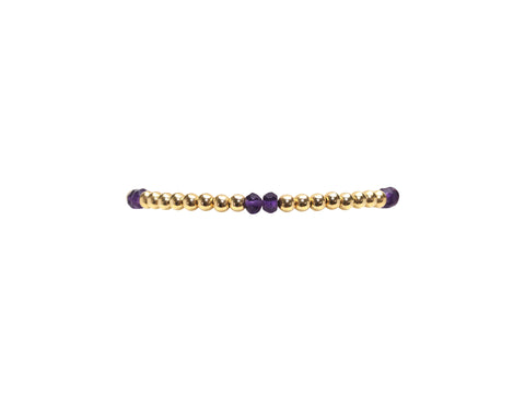 Kids 3MM Yellow Gold Filled Bracelet with Amethyst Pattern