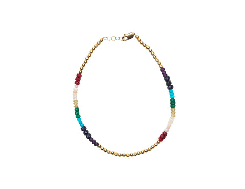 3MM Yellow Gold Filled Anklet with Rainbow