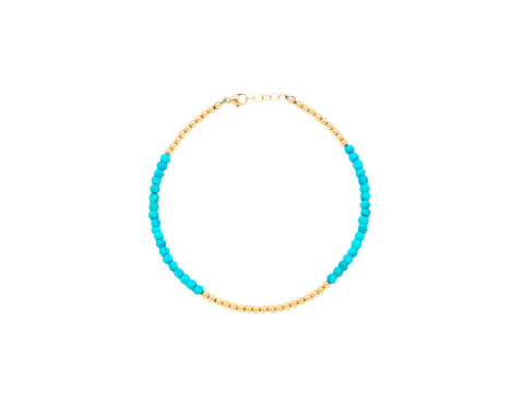 3MM Yellow Gold Filled Anklet with Turquoise